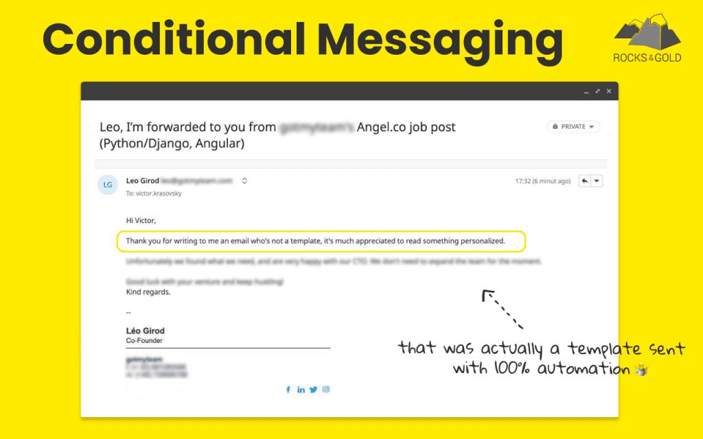 Conditional Messaging: как рассылать до 1,000 персонализированных сообщений в день? Опыт Rocks & Gold
